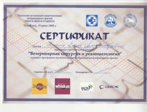 сертификат ветеринария хирургия 016
